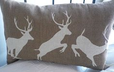 hand printed acorn brown triptyque stag cushion by helkatdesign, $76.00