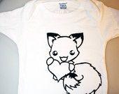 Cute Happy FOX ONESIE - Organic Eco Baby Kids - Kawaii Animal - ReLove Planet - 3-6 Months