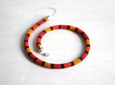 Red and Orange Necklace Bead Crochet Rope by HeriniasJewelryChest