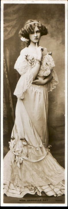 Gabrielle Ray.  was an English stage actress, dancer and singer, best known for her roles in Edwardian musical comedies. Ray was considered one of the most beautiful actresses on the London stage and became one of the most photographed women in the world.