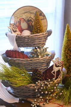 3 tiered trays are all the rage with decorating and creating vignettes. Why not use a set of our baskets to design one of your own! Our collection includes 3 baskets in varying sizes to allow you to style them from large to small. For the upcoming Holiday season, be sure to fill your baskets with a variety of our Christmas tree trimmings, and greenery to complete the look.