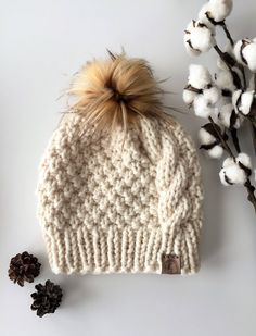 21bf24e55c2 Cable Knit Hat Chunky Cable Beanie Slouchy Cable Knit Hat Cream Knit Hat
