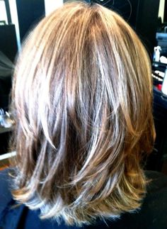 Shoulder length hair with cute layers...wonder how it would work with my crazy thick and wavy hair.