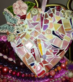 Grouted mosaic heart :) I sure need to learn better photography!