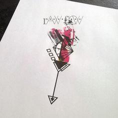 Abstract forearm tattoo arrow geometric watercolor