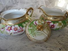 Antique Vintage Nippon Porcelain  Set of Creamer and Sugar Bowl Pink and White Flowers Gold Trim Green Background Shabby Chic Home Decor by TreasuredMemoriesSC on Etsy