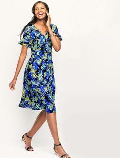 Flounce-Sleeve Floral Dress