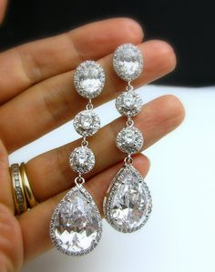 bridal earrings wedding earrings bridal jewelry wedding jewelry Clear white teardrop AAA cubic zirconia oval post