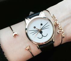 Kitty Watch Women Watches Cat Watch Wrist Watch Leather Watch Vintage Watch…