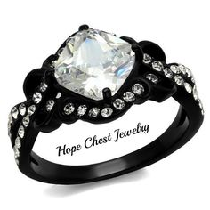 $12.50 Hope Chest Jewelry - SPECIAL DEAL - BLACK STAINLESS STEEL 3 CARAT CUSHION CUT CUBIC ZIRCONIA ENGAGEMENT RING, $12.50 (http://www.hopechestjewelry.com/special-deal-black-stainless-steel-3-carat-cushion-cut-cubic-zirconia-engagement-ring/)