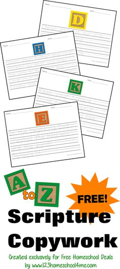 Free A to Z Scripture Copywork #homeschool #copywork #homeschoolfreebies