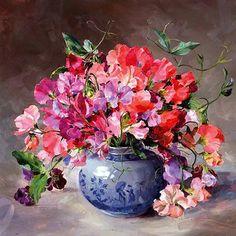 Bouquet of Sweet Peas | Mill House Fine Art – Publishers of Anne Cotterill Flower Art