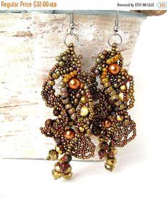 Seed bead earrings, Rustic earrings, Bronze gold earrings, Long earrings, Freeform beading   Beautiful and unique rustic beaded earrings, soft colors: