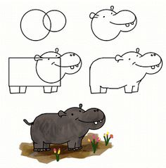 how to draw funny cartoon animal easy way