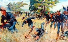 """""""The Gatlings to the Assault"""" from the """"US Army in Action"""" Poster Series. San Juan Hill, Santiago de Cuba, 1 July The United States Army's first use of close support machine guns in the attack, which was decisive in the capture of San Juan Hill. The Spanish American War, American Civil War, American History, American Soldiers, Military Art, Military History, Military Uniforms, Guerra Hispano-americana, Thirty Years' War"""