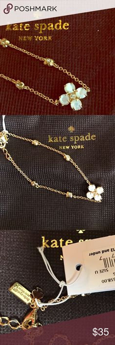 Delicate ♠️ bracelet Central Park Pansy station bracelet by kate spade. New with tags and original packaging. Gold tone with a little bling. Main pansy looks pearlized. Elegant and lovely! Adjustable length. kate spade Jewelry Bracelets