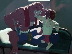 The Boy and the Beast - Bakemono no ko (by ちさ) Studio Ghibli, Anime Love, Anime Guys, Furry Wolf, Furry Art, Wolf Children Ame, Bakemono No Ko, Anime Manga, Anime Art