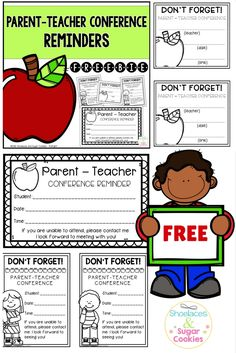FREE Here are three notes you can fill out to remind parents of upcoming parent-teacher conferences.