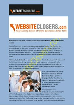 WebsiteClosers.com, Well-Known as Ecommerce Business Brokers, Offers the Best Online Services