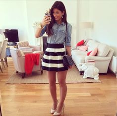 Love the chambray with the skirt.