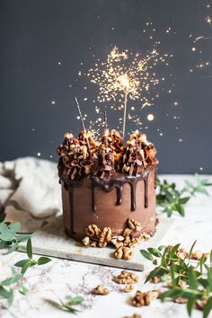 Chocolate cake topped with a sparkler (Chocolate Cake Drip)