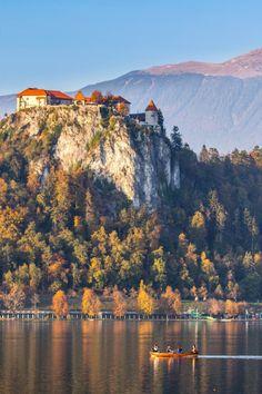 Boating in Lake Bled, Slovenia