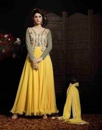 Georgette, Net Fabric Yellow Color Anarkali Suit With Beautiful Hand Embroidery Work
