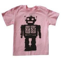 Happy Family Futuristic Robot Girls Light Pink Kids T Shirt