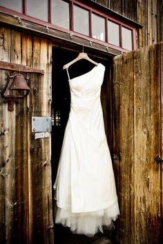 Rustic door with wedding dress. rustic-chic