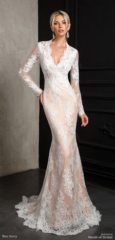 Bien Savvy 2018 Wedding Dress - The wedding dress of which the nude lace's fine features inspire the whole story of this dress. The noble and precious lace, the siren cut, the female decolletage line represent the reference elements of the bride dress. Putting on this wedding dress will make you have a real obsession for it. We mention that the dress has an elastic base nude color but on request can be changed on ivory. One Night Bride Dress is the passion for elegance, style and femininity…
