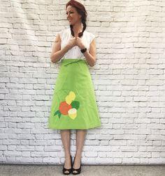 Vintage 70s Wrap Skirt XS S Reversible Green Fruit Polka Dot by PopFizzVintage