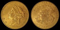 "1861 Philadelphia Mint ""Paquet Reverse"" Liberty Double Eagle #Gold #Coin."