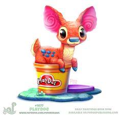 Daily Paint Play-doe by Cryptid-Creations on DeviantArt Cute Kawaii Animals, Cute Animal Drawings Kawaii, Kawaii Art, Cute Fantasy Creatures, Cute Creatures, Cute Food Drawings, Cool Drawings, Play Doe, Animal Puns