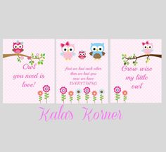 owl nursery art print set decor owl nursery print by KalasKorner,