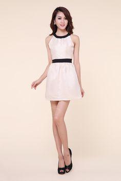 Stunning Scoop Neck Sleeveless Color Block Polyester Women's Dress
