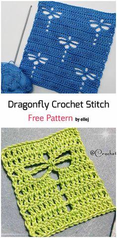 Crochet The Dragonfly Stitch - Free Pattern Video - Fillet Crochet Crochet Dragonfly Pattern, Crochet Motif Patterns, Crochet Dishcloths Free Patterns, Crochet Stitches Free, Crochet Squares, Crochet Cross, Diy Crochet, Fillet Crochet, Crochet Instructions