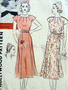 88e01bd2e282 Beautiful 1930s Dress and Hat Pattern Flippy Gored Skirt