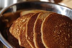 Soaked buckwheat pancakes-to use up kefir and buckwheat flour-made 7/1/15. Omitted baking powder and used cast iron skillet.
