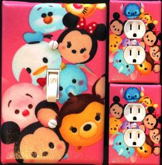 Tsum tsum pink Light Switch wall plate covers nursery kids room bedroom decor  | eBay