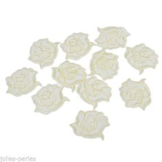 JP 100PCs Rose Flower Patches Embroidered Iron On Patch Light Yellow 3.4x4.3cm