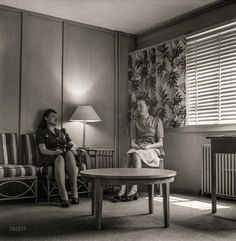 """""""One of several alcoves off the corridor at Arlington Farms,"""" a residence for women war workers, 1943. http://www.shorpy.com/node/21350 Esther Bubley"""