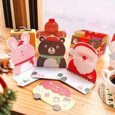 10pcs/lot CuteColorful Animal Car Folding Christmas Greeting Cards Birthday Thanksgiving Day Blessing Festival Gift,Envelopes