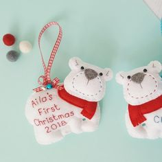 Two lucky babies will be receiving these cute polar bear first Christmas keepsakes this festive season. Be sure to order early, only available for a limited period. Felt Gifts, Gifts For New Moms, Gifts For Mum, Baby Gifts, First Christmas Ornament, Christmas Diy, Felt Decorations, Christmas Decorations, New Mums