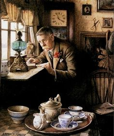 Charles-Spencelayh  Someone-coming-to-tea-detail