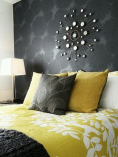 Love a wall-papered accent wall!!