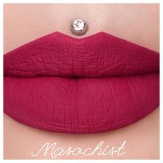 """Jeffree Star Cosmetics no Instagram: """"Here is a better swatch, showing the color in its truest form! ⚡️""""MASOCHIST"""" liquid lip launching 9/29 IN the @morphebrushes and on their website!  then it will be on the JSC website the next day 9/30  there will be 2 other shades coming out that day as well! #Dominatrix & #? Lip swatch: @missjazminad"""""""