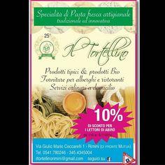 10% di sconto per i lettori di #Abirò dal 1/10 al 15/11/2016  Specialità di Pasta fresca artigianale tradizionale ed innovativa Il Tortellino Prodotti tipici & prodotti Bio Forniture per alberghi e ristoranti Servizi culinari a domicilio il Tortellino Via Giulio Mario Ceccarelli 1 - Rimini (di fronte alla Mutua) tel. 0541780246 - 3454345004 iltortellinoriminimi@gmail.com seguici su facebook #abirò #magazine http://xn--abir-oqa.com/ #abitareromagna #rimini #vivorimini #vivoemiliaromagna…