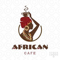 Logo for sale: African women dressed in traditional tribal wear with her hand holding a