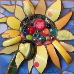 Sunflower with Dots by Anja Hertle ~  Maplestone Gallery  ~  Contemporary Mosaic Art