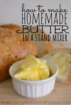 Homemade butter with homemade bread? How to make homemade butter in a stand mixer. I seriously cannot believe how easy this is! It costs less, tastes better, is fun to do with kids and it makes buttermilk too! Stand Mixer Recipes, Do It Yourself Food, Think Food, Tasty, Yummy Food, Back To Nature, Diy Food, Queso, Food Hacks